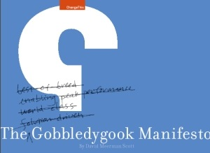Manifesto cover for The Gobbledygook Manifesto