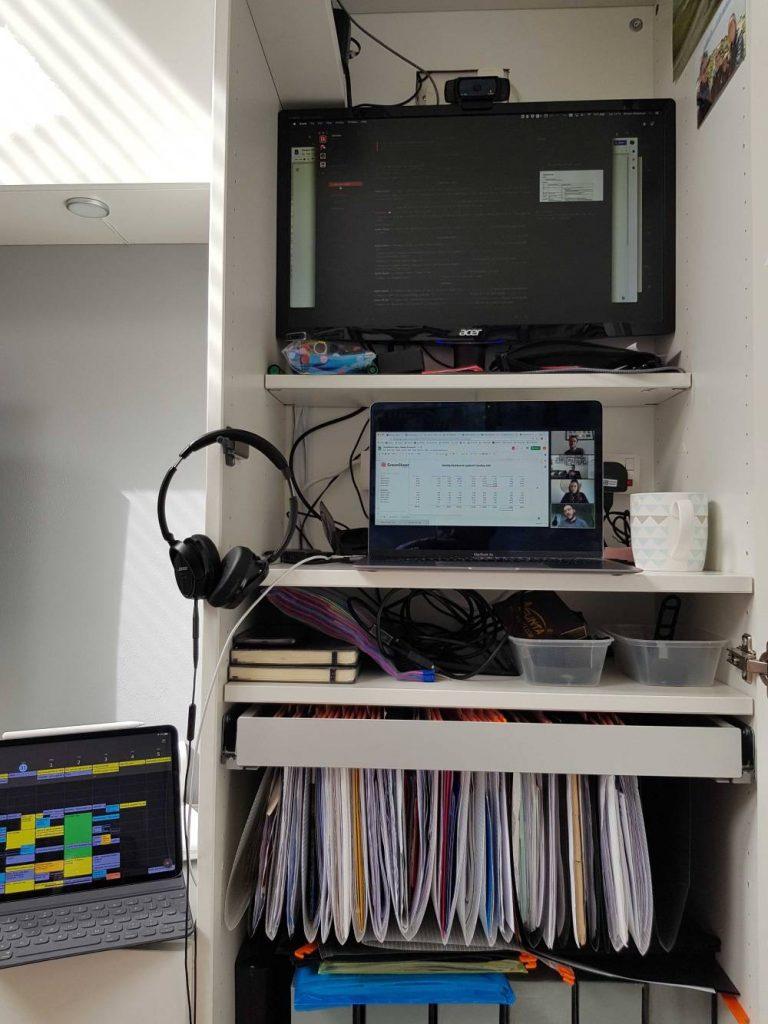 My IKEA cupboard standing desk set-up.